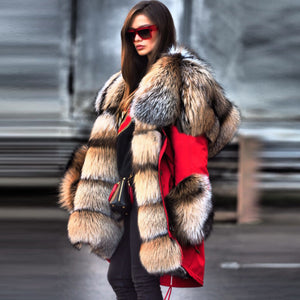 Autumn And Winter Fur Collar High Imitation Fur Overcoat