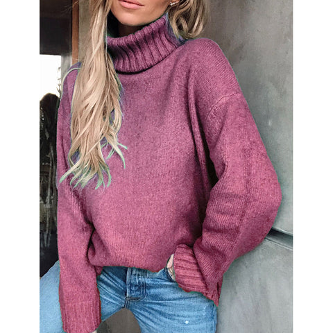 Women's Casual High Collar Long Sleeve Pure Color Loose Sweater