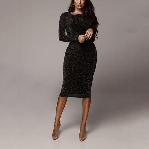 Sexy Wrap Buttock Slim Long Sleeve Bodycon Dress