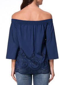 Off Shoulder  Hollow Out Plain Blouses