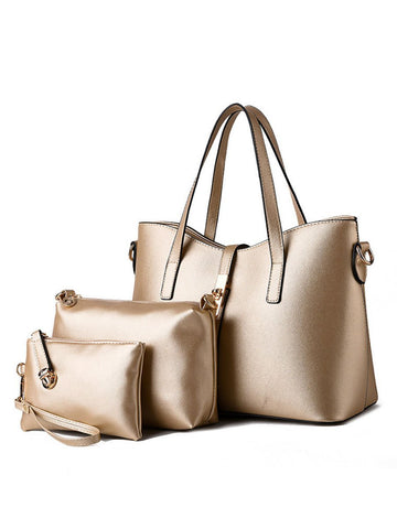 Three Pieces Gold Pu Classic Shoulder Bag