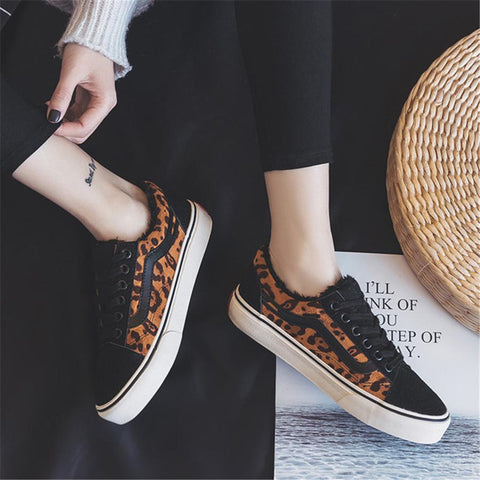 Women's leopard plus velvet low-top casual shoes