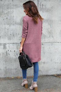 Slit Pocket Snap Front  Plain Cardigans