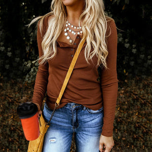 Casual Long Sleeve Button Solid Color T-shirt