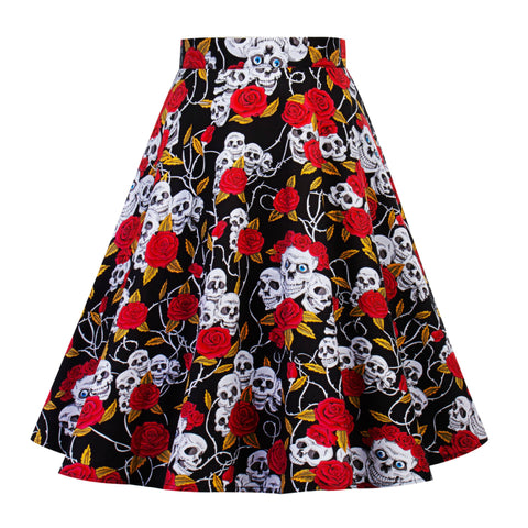 Vintage Printed Casual Midi Skirt