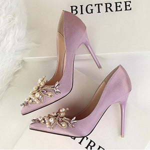 Vintage Elegant Pearl Rhinestone Wedding Party Shoes