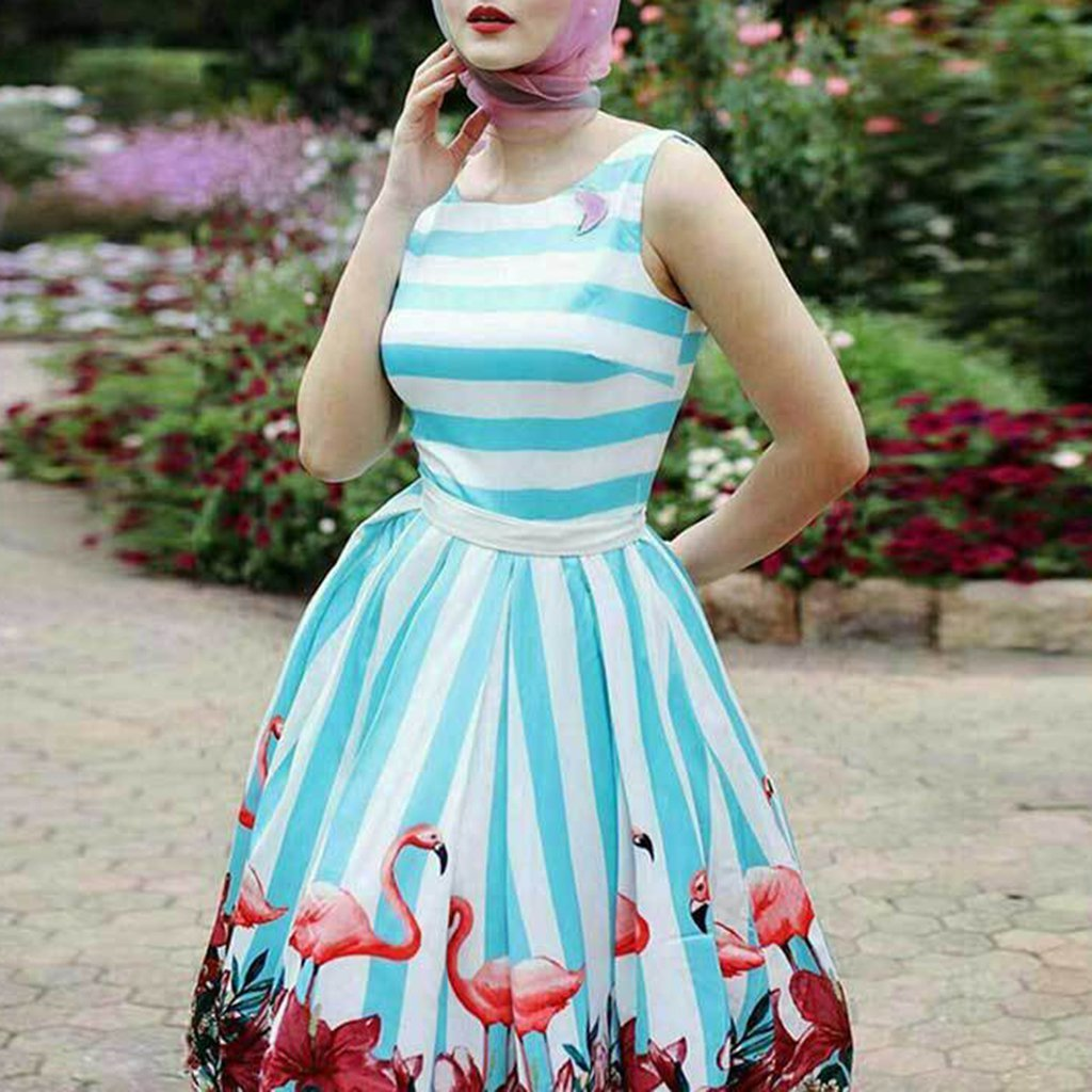 Retro Printed Sleeveless Slim Expansion Skater Dress With Plus Size