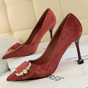 Elegant Pearl Decoration Pointed Slim Heels Shoes