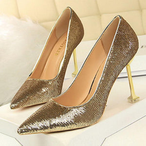 Shallow Mouth Sequined Pointed Slim High Heels
