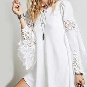 Round Neck Decorative Lace Hollow Out Plain Bell Sleeve Long Sleeve T-Shirts