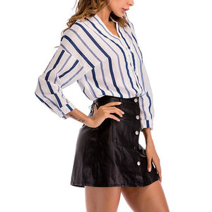 Sexy Deep V Collar Stripe Printed Irregular Hem Raglan Sleeves T-Shirt
