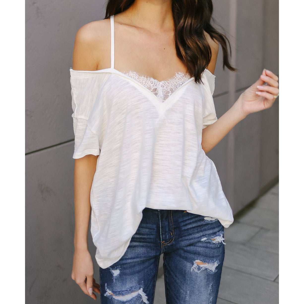 Sexy Plain Lace Strap Short Sleeve T-Shirt