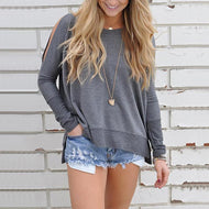 Loose Plain Round Collar Long Sleeves T-Shirt