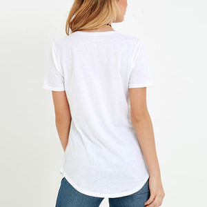 Short-Sleeved Solid Color Sexy V Collar T-Shirt With Pocket