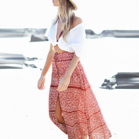 Printed Bohemia Vacation Loose Skirt
