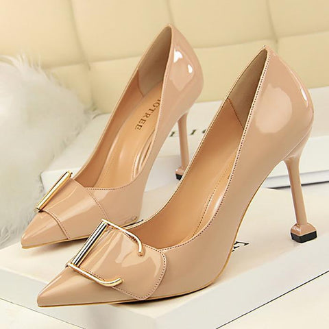 Fashion Pure Color Women Slim Heel Shoes