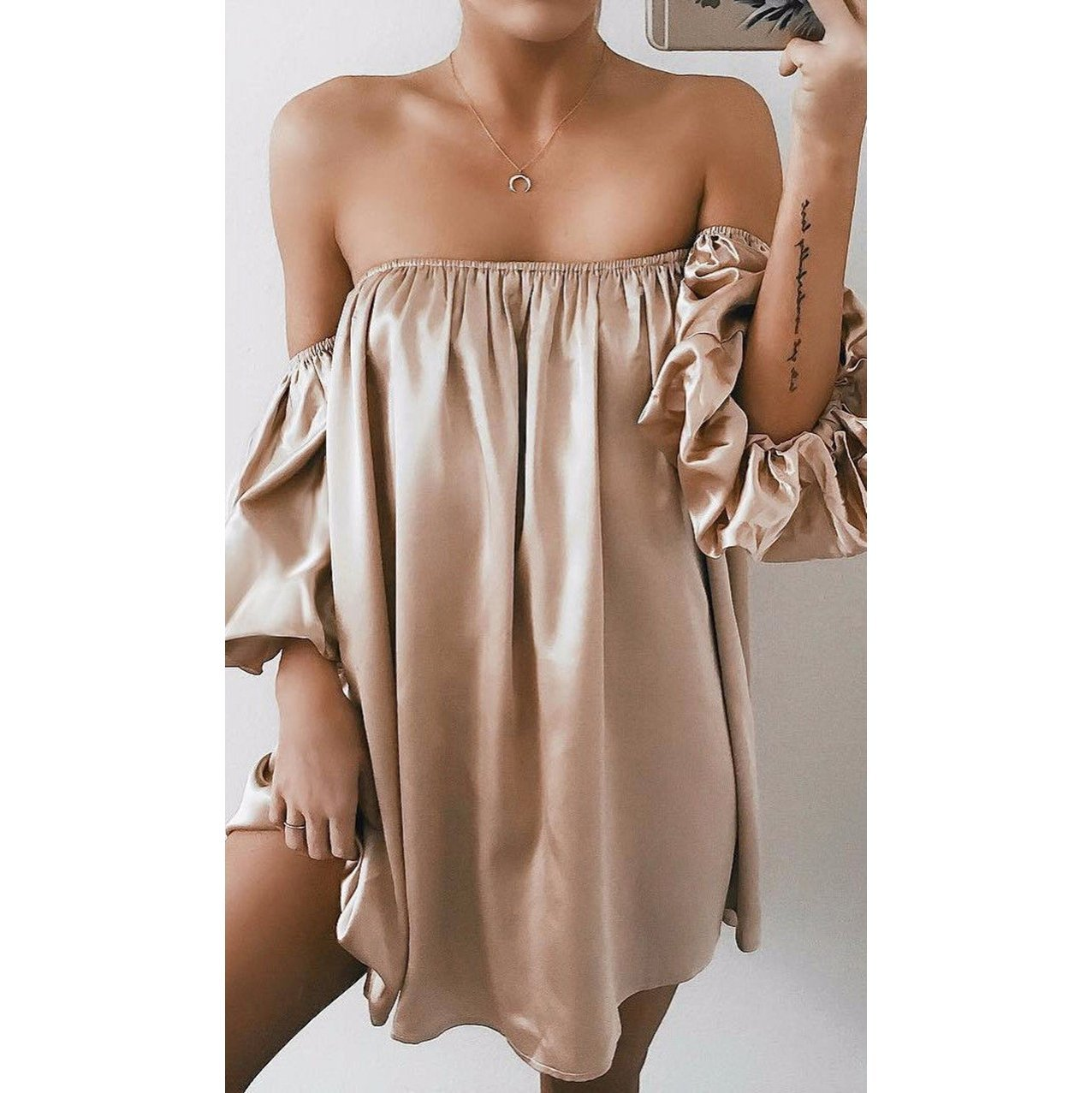 Sexy Loose Plain Off-Shoulder Lantern Sleeve Shirt