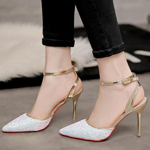 Stiletto  High Heeled  Ankle Strap  Point Toe  Date Event Pumps