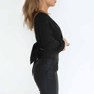 Sexy V Collar Pure Color Long-Sleeved Chiffon Shirt
