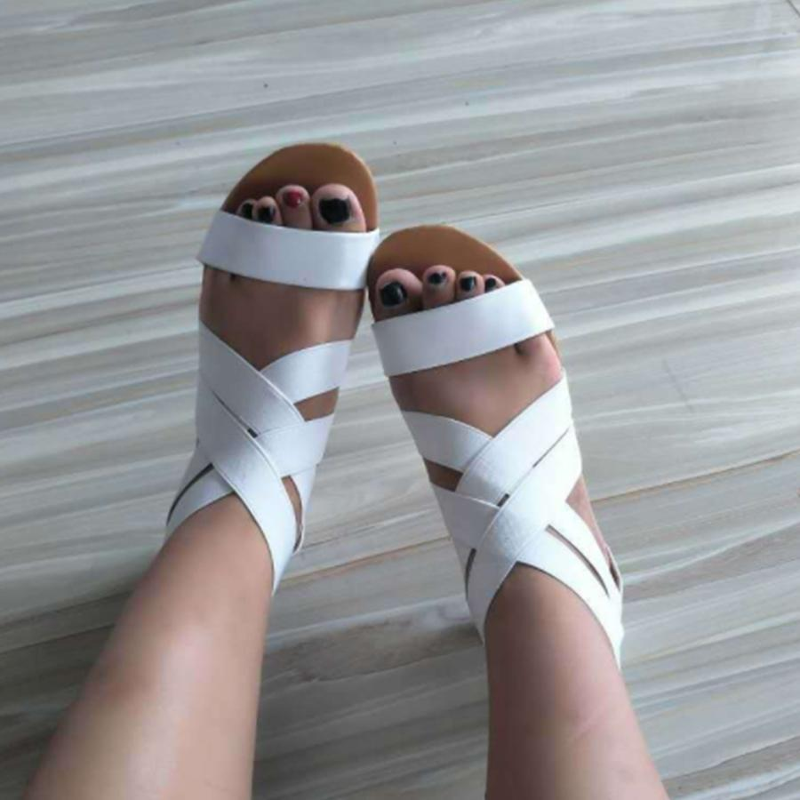 Plain  Flat  Ankle Strap  Peep Toe  Beach Casual Sandals