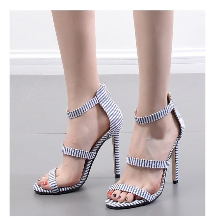 Stripe Slim Heel Word Band High Heel Shoes