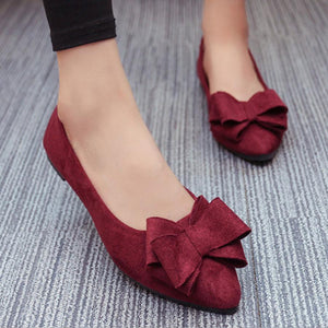 Plain  Low Heeled  Velvet  Point Toe  Date Office Flat & Loafers