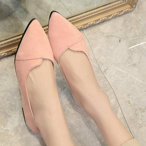 Plain  Flat  Velvet  Point Toe  Date Flat & Loafers
