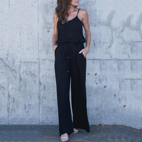 Spaghetti Strap  Belt  Plain  Sleeveless Jumpsuits