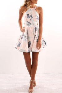 Round Neck  Backless  Printed  Sleeveless Skater Dresses
