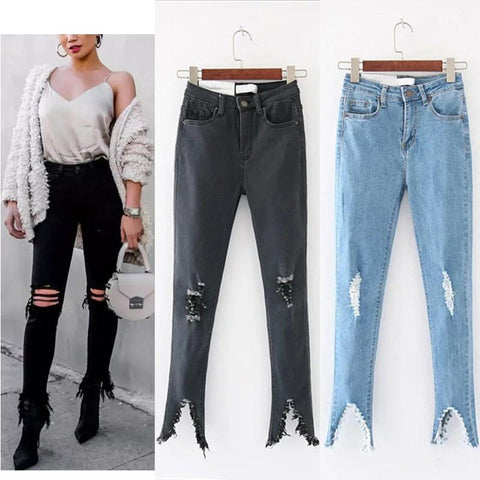 Slim High Waist Hole Solid Color Casual Jeans Pants