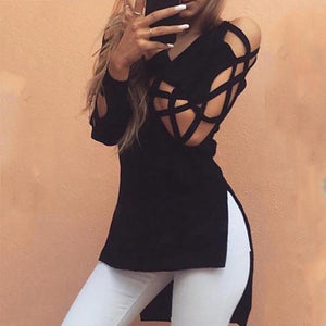Sexy V Collar Hollow Long Sleeve Split Irregular Shirt
