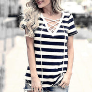 Sexy Deep V Collar Black And White Stripes Short Sleeve Shirt