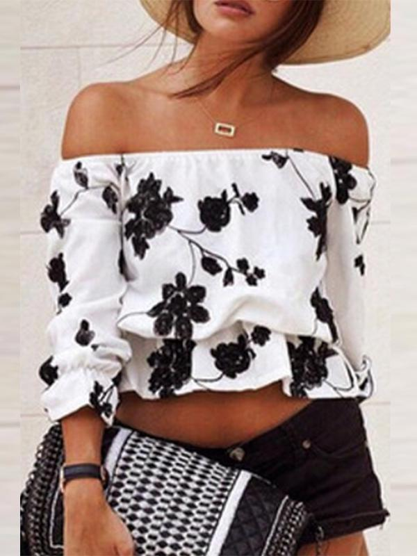 Off Shoulder  Backless  Print  Blouses
