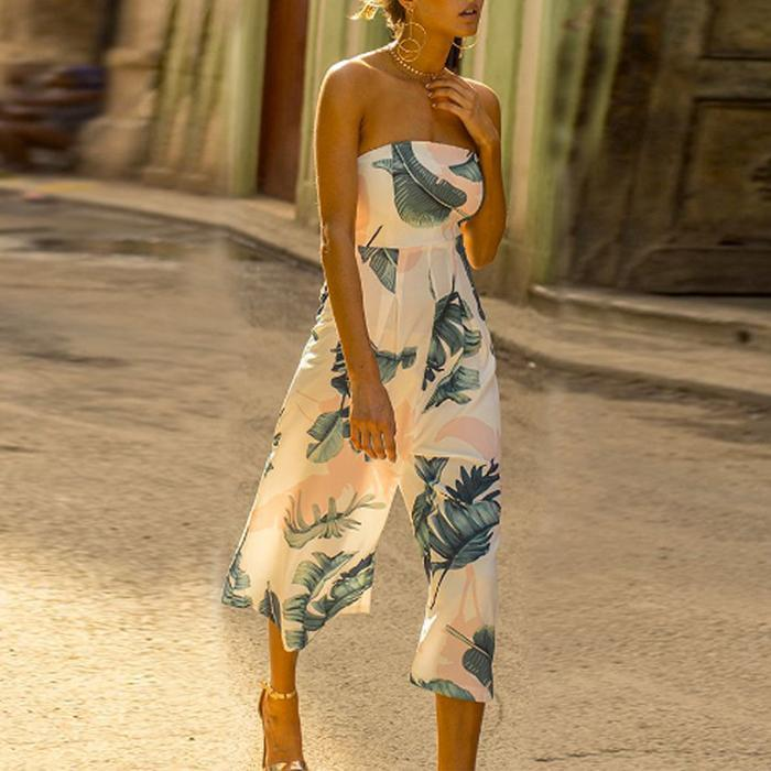 Sexy Wrapped Chest Printed Beach Wide-Leg Jumpsuit