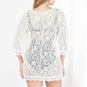 Sexy Lace Sun Protection Blouse Beach Wear