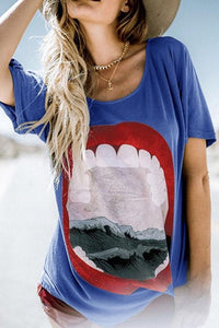 Sexy Lip Print Short Sleeve T Shirt