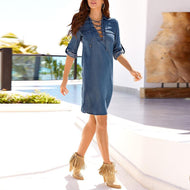 V Neck Lace Up Long Sleeve Denim Casual Dress