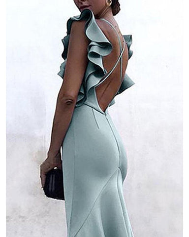 Sexy Backless Plain Maxi Bodycon Dress