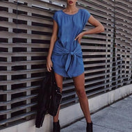 Round Neck Loose Strap Denim Bat Sleeveless Mini Dress