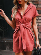 Short Sleeve Lapel Fashion Versatile Tunic Mini Dress
