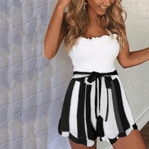Asymmetric Hem  Belt Loops  Striped Skirts