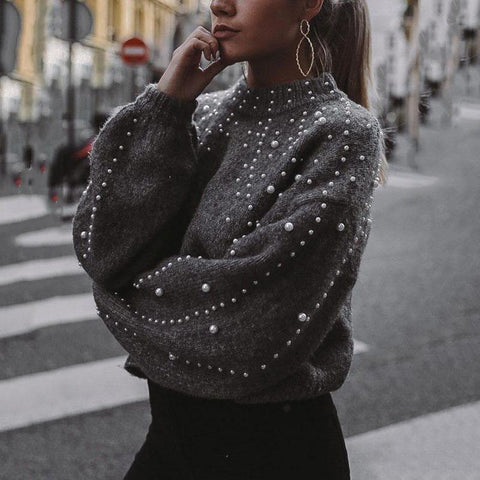 Round Neck Loose Nail Pearl Knitting Sweater