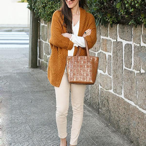 Solid Color Knit Bat Sleeve Thick Cardigan