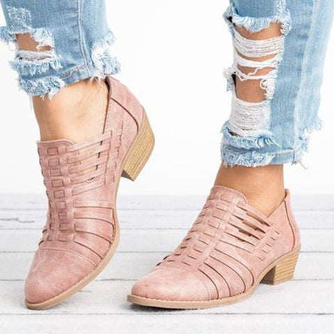 Plain Chunky Mid Heeled Point Toe Ankle Boots