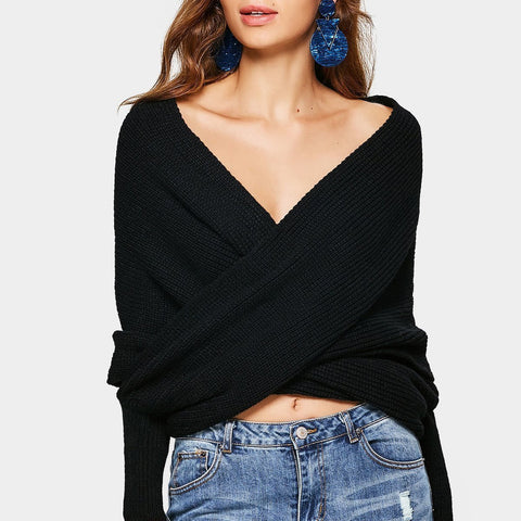 V-Neck Cross Knit   Sweater Sexy Navel Sweater Shawl