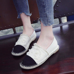 Female Patchwork Casual Canvas Shoes Round Toe Flat & Loafers