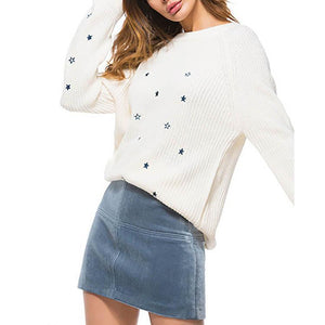Round Collar Star Embroidery Knitting Sweater