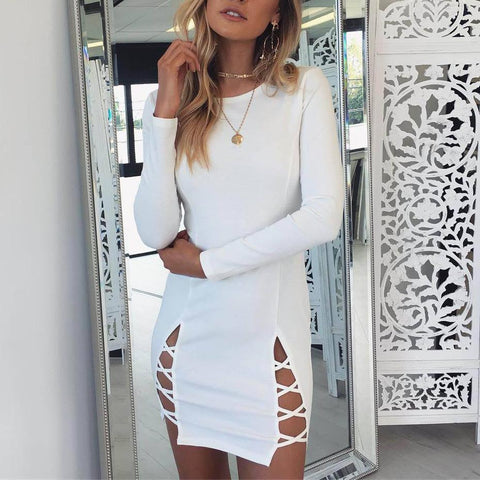 Round Neck Slim Straps Long Sleeve Dress