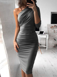Fashion Oblique Collar Asymmetrical Sexy Bodycon Dress