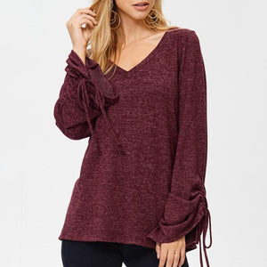 V-Neck Flared Sleeve With Long-Sleeved Slim T-Shirt